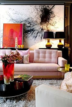 Some fun color ideas with a pink sofa