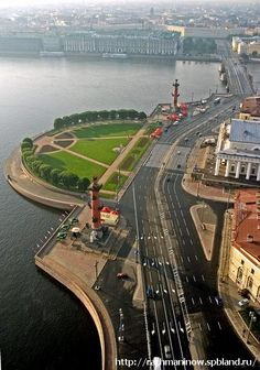 View of St Petersburg, Russia: two Rostral Columns erected in 1811