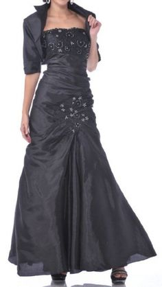 Meier Womens Embroidery Taffeta Strapless Gown with Jacket 9194
