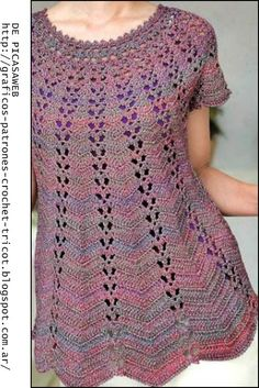 crochet fabric , CROCHET - GANCHILLO - PATRONES - GRAFICOS: REMERA CON CANESU REDONDO TEJIDA A CROCHET
