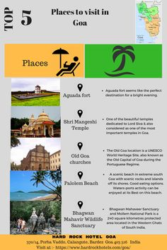 Top 5 places to visit in Goa, India. Goa Travel, India Travel Guide, Travel Route, Travel And Tourism, Travel List, Travel Destinations, India Trip, Goa India, Best Places To Travel