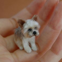 Yorkshire Terrier Dog. Miniature Animal Sculptures that fit on your Hand. See more art and information about ReveMiniatures, Press the Image.