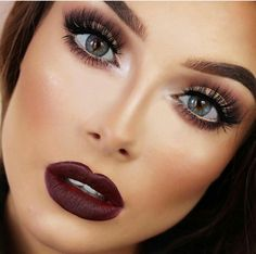 Dark red Lipstick makeup eyes nose mouth beauty girl