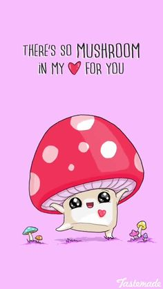 There's so mushroom in my heart for you (Relationship Cartoons) - Food Meme - There's so mushroom in my heart for you (Relationship Cartoons) The post There's so mushroom in my heart for you (Relationship Cartoons) appeared first on Gag Dad. Cute Jokes, Cute Puns, Funny Puns, Funny Quotes, Cute Cartoon Quotes, Valentines Quotes Funny, Bad Valentines, Funny Humor, Relationship Cartoons
