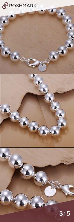 Silver Bracelet 925 sterling silver bracelet 925-sterling-silver jewelry 10mm solid ball chain bracelets Jewelry Bracelets