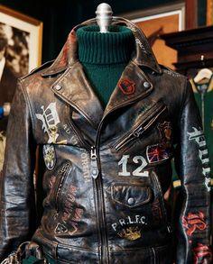 Men/'S BIKER moto vintage effetto anticato Nero Cafe Racer Leather Jacket