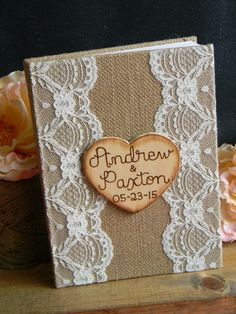 Rustic Guest Book Burlap & Lace Guestbook Blank Pages Notebook Woodland Shabby Chic Wedding Book Bridal Shower Guest Book Burlap and Lace by justforkeeps