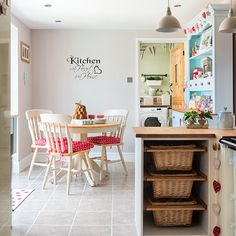 Add some vintage style to a country kitchen diner with fun painted furniture