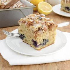 Blueberry-Lemon Coffee Cake...bursting with blueberries and finished off with a lemon drizzle.
