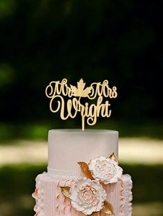 Fall Wedding Cake Topper Fall in Love Cake Topper by HomeWoodDeco