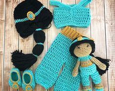 Excited to share this item from my shop: Princess Jasmine Inspired Costume and Matching Doll/Princess Jasmine Wig/Princess Jasmine Photo Prop Newborn to 12 Month Size- MADE TO ORDER Crochet Princess, Baby Girl Crochet, Crochet Baby Clothes, Newborn Crochet, Crochet Baby Costumes, Crochet Photo Props, Crochet Disney, Yarn Sizes, Pulls