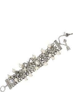 STONE PEARL CRYSTAL TOGGLE BRACELET CRYSTAL accessories jewelry bracelets fashion
