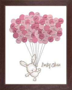 Having a bunny themed baby shower? Heres a unique idea for both a guestbook and cute artwork! Your guests sign the balloons at the baby shower,