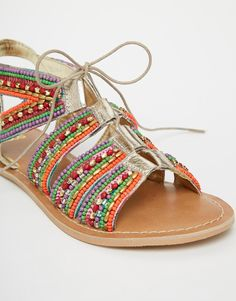 Image 4 ofASOS FOSS Leather Lace Up Beaded Sandals