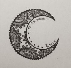 i love you to the moon and back // mandala moon art zentangle doode Henna Tatoos, Henna Art, Henna Tattoo Back, Back Henna, Wrist Tattoos, Foot Tattoos, Tattos, Et Tattoo, Piercing Tattoo