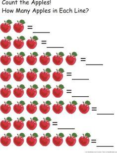 Doodlebugs Homeschool great for preschool. Preschool Apple Theme, Preschool Art Activities, Apple Activities, Kindergarten Math Worksheets, Fall Preschool, Worksheets For Kids, Self Contained Classroom, Apple Unit, Montessori Math