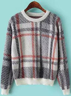Grey Long Sleeve Plaid Crop Sweater - Sheinside.com
