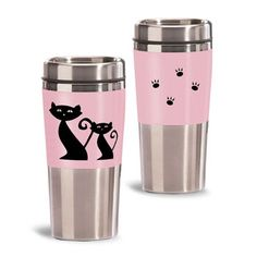 Super cute and good for the environment! Stop throwing away cups! Thermal Travel Mug, Custom Travel Mugs, Stainless Steel Coffee Mugs, Coffee To Go, Travel Cup, Mug Cup, Bridesmaid Gifts, Pink Roses, Wedding Colors