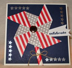 Card made using pinwheels from June 2014 Paper Pumpkin kit