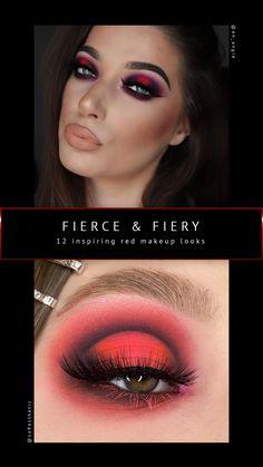 Red Makeup Looks, Red Eye Makeup, Rave Makeup, White Makeup, Red Eyeshadow, Purple Makeup, Eyeshadow Looks, Makeup Art, Makeup Ideas