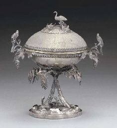 A 19TH CENTURY AUSTRALIAN SILVER-MOUNTED EMU EGG COVERED CUP,  MARK OF WILLIAM EDWARDS, MELBOURNE, CIRCA 1861/65,