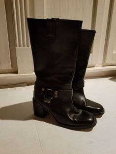 3b514903dce Womens Harley Davidson Black Leather Riding Boots Size 8 Slip On  preowned
