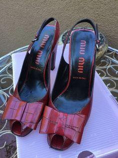RARE MIU MIU Italy peep toe heels shoes sandals. Dark Red leather with bow #MIUMIU #OpenToe #Any