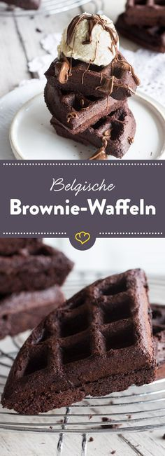 A true chocolate dream: crunchy on the outside and deliciously fudgy on the inside. Served warm with a scoop of vanilla ice cream melt away! The post Chocolate and fudgy: Belgian brownie waffles appeared first on Dessert Park. Baking Recipes, Cake Recipes, Dessert Recipes, Brownie Recipes, Food Cakes, Brownie Cupcakes, Chocolate Dreams, Chocolate Chocolate, Yogurt
