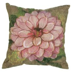 Add natrual appeal to a neutral sofa or loveseat with this eye-catching cotton pillow, showcasing a dahlia motif.   Product: Pill...