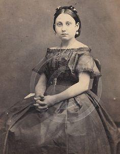 Classic Pose Civil War Girl in Hoopskirt by Dickman's of Sacramento Calif CDV | eBay