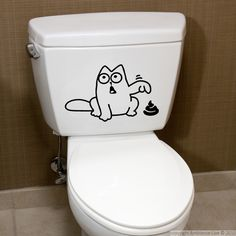 This Funny cat bathroom #wall #decals can give you ideas for decorating your toilet. #stickers