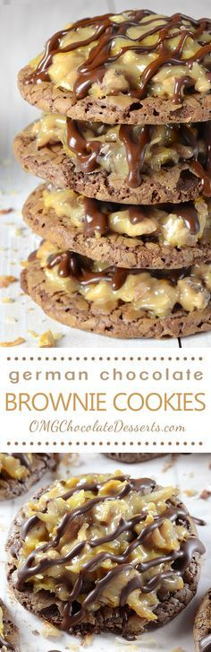 German Chocolate Brownie Cookies are soft and chewy brownie cookies topped with gooey coconut pecan caramel frosting drizzled with chocolate!
