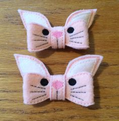 Pink Easter Bunny Pig Tail Clips  3D Bunny Bow Clips by HaleysBows