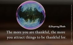 The more you are thankful, the more you attract things to be thankful for. Anon