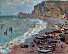 Claude Monet - Beach at Étretat (1883)
