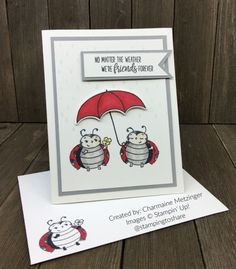 Little Ladybug Host Set created by Charmaine Metzinger Umbrella Cards, Bee Cards, Hand Stamped Cards, Fancy Fold Cards, Friendship Cards, Pocket Cards, Animal Cards, Cards For Friends, Kids Cards