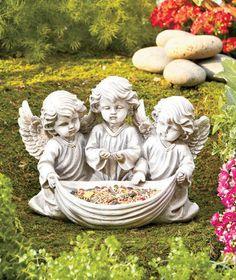 Beautiful Cherub Angel Bird Feeder Angels Yard Garden Decor New