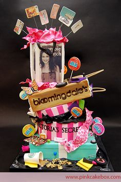 This 4 tier Bat Mitzvah follows the shopping extravaganza theme. The cake includes the girl's favorite stores and accessories!