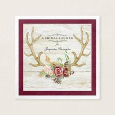 BOHO Deer Antler Fall Watercolor Rose Floral Wood Paper Napkin