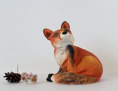 Vintage Porcelain Red Fox Figurine by Suite22 on Etsy