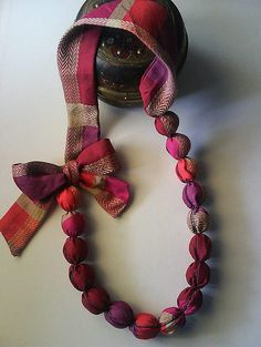 Cute fabric necklace by karikato