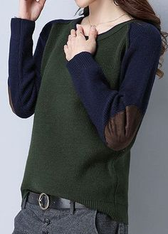 Round Neck Army Green Long Sleeve Sweater, fall outfits for women, high quality and better service, check it out.