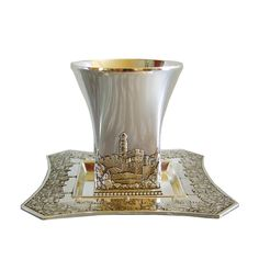 Kiddush Cup & Saucer, Silver plated, Jerusalem decorations, Judaica Israel Gift