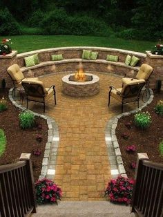 The Brick is not my favorite color, but I like the idea of round seating surrounding the fire-pit.