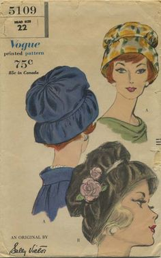 Vintage Hat Sewing Pattern | Vogue 5109 | Year 1960 | Head Size 22 | Hat | An Original by Sally Victor