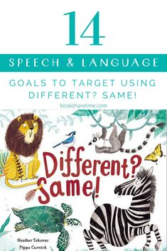 Take a look at the speech and language goals you can target in speech therapy using 'Different?' by Heather Tekavec Speech Therapy Themes, Speech Language Pathology, Speech And Language, Sign Language, Articulation Activities, Speech Therapy Activities, Language Activities, Toddler Development, Language Development