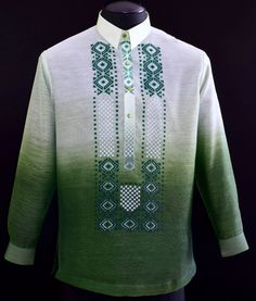 Green Jusilyn Barong Tagalog - Barongs R us Barong Wedding, Barong Tagalog, Filipiniana Dress, Filipino Fashion, Chinese Collar, Line Shopping, Formal Looks, Pride And Prejudice, Mens Fashion