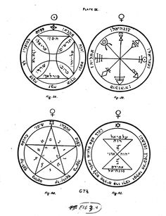 Illustrated page from the Key of Solomon depicting four pentacles.