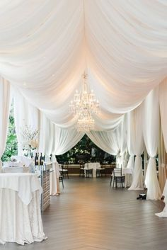Glamorous Beverly Hills Ballroom Wedding inspiration - just look how romantic those white drapes loo Ballroom Wedding, Tent Wedding, Wedding Reception, Our Wedding, Dream Wedding, Wedding Draping, Tent Reception, Budget Wedding, Fall Wedding