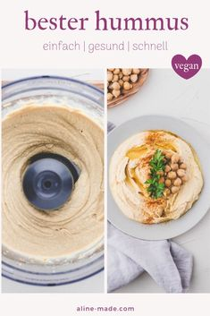 A super easy recipe for the best homemade hummus. You can make it in 5 minutes and use this tasty hummus with bread or serve it with vegetable sticks. Make Your Own Hummus, Make Hummus, Homemade Hummus, Vegan Hummus, Hummus Food, Vegetarian Recipes, Snack Recipes, Healthy Recipes, Easy Recipes